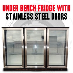 Under Bench 3 Door Fridge With Stainless Steel Doors