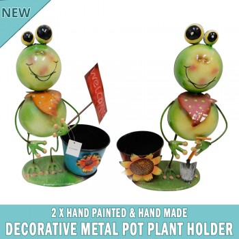 2x Frog Garden Pot Plant Metal Decor Statue Ornament Figurine Outdoor Indoor
