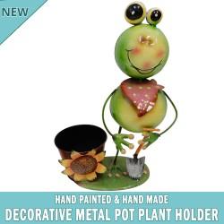 Garden Frog Pot Plant Metal Decor Statue Ornament Figurine Outdoor Indoor