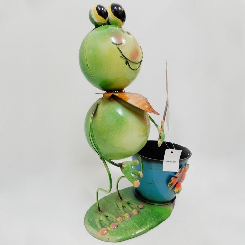Frog Garden Pot Plant Metal Decor Statue Ornament Figurine