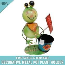 Frog Garden Pot Plant Metal Decor Statue Ornament Figurine Outdoor Indoor