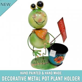 Frog Garden Pot Plant Metal Decor Statue Ornament Figurine Outdoor Indoor