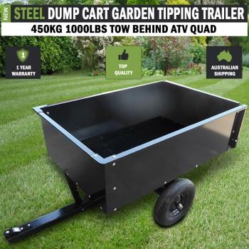 Steel Dump Cart Garden Tipping Trailer 450kg 1000lbs Tow Behind ATV Quad