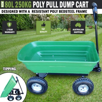 80L 250kg Poly Pull Dump Cart Hand Trailer Wagon Lawn Wheelbarrow Tipping
