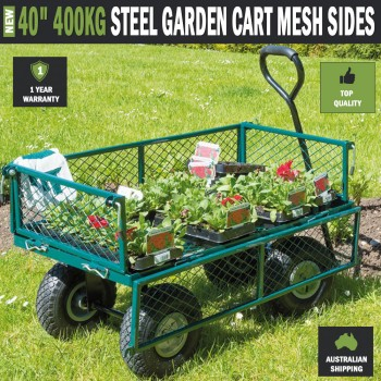 "40"" 400kg Steel Cart Folding Mesh Sides Trolley Wagon Trailer"