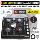 NEW 60cm Black Glass Top 4 Burner Gas Cooktop Wok Burner Hob Cast Iron Trivets