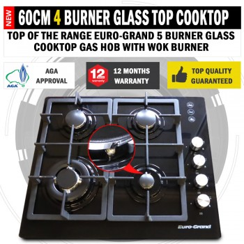 60cm Black Glass Top 4 Burner Gas Cooktop Wok Burner Hob Cast Iron Trivets