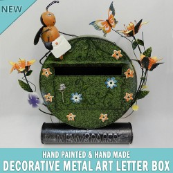 Green Decorative Metal Art Letterbox Mailbox Hand Made & Painted
