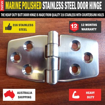 Butt Door Hinge 76*42mm 316 Marine Polished Stainless Steel for Caravan