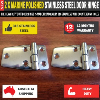 2 x Butt Door Hinge 68x40mm 316 Marine Polished Stainless Steel for Caravan