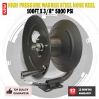 "New 100' X 3/8"" 5000 PSI High Pressure Washer Steel Hose Reel"