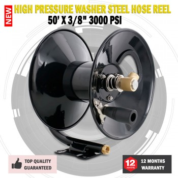 "New 50' X 3/8"" 3000 PSI High Pressure Washer Steel Hose Reel"