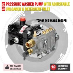 New 3600PSI Pressure Washer Pump With Adjustable Unloader & Detergent Inlet