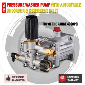 New Top Of The Range 4000PSI Pressure Washer Pump With Adjustable Unloader & Det