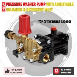 New 4200PSI Pressure Washer Pump With Adjustable Unloader & Detergent Inlet