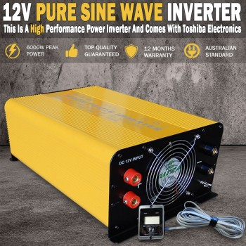Pure Sine Wave Power Inverter 3000W(6000W Max) 12V-240V Remote Control & USB