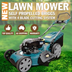 "22"" Lawn Mower Self Propelled Briggs & Stratton Powered Petrol Lawnmower Grass"