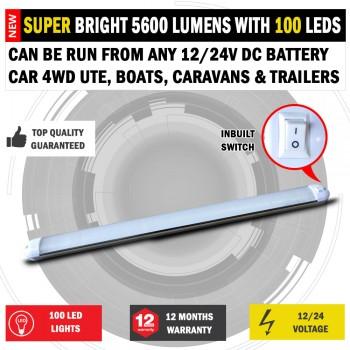 50cm 12/24V DC Diffused 100 LED Strip Light Bar Camping Caravan Boat Trailer