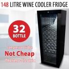 36 Bottle 148L Wine Cooler Fridge Under Bench Stainless Steel Chiller