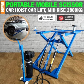 Portable Mid-Rise Scissor Hoist, Car Lift, Car Hoist, Garage Home Use Hoist 2800kg