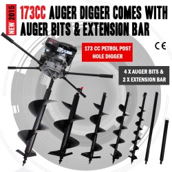 NEW Industrial 173cc Petrol Post Hole Digger Earth Drill With Auger Bits