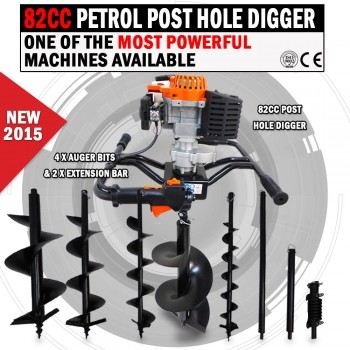 NEW 82cc Petrol Post Hole Digger Earth Auger Posthole Ground Drill Borer