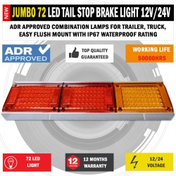 JUMBO 12V/24V 72 LED Trailer Tail Lights Indicator Lamp For Caravan Truck