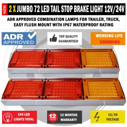 2 x JUMBO 12V/24V 72 LED Trailer Tail Lights Indicator Lamp For Caravan Truck