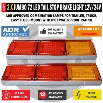 2 x JUMBO 12V/24V 72 LED Trailer Tail Lights Indicator Lamp For Caravan Truck