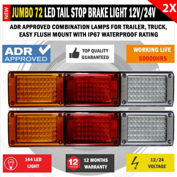 2x JUMBO 12V/24V 72 LED Trailer Tail Light Indicator Lamp For Caravan Trucks