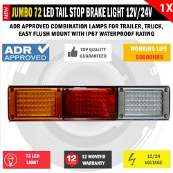 JUMBO 12V/24V 72 LED Trailer Tail Light Indicator Lamp For Caravan Trucks