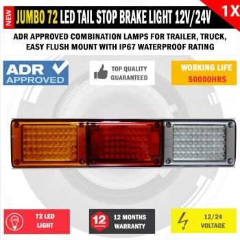 JUMBO 12V/24V 72 LED Trailer Tail Light Indicator Lamp For Caravan Trucks