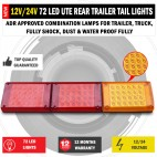 NEW JUMBO 12V/24V 72 LED Trailer Tail Lights Indicator Lamp For Caravan Truck