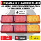 2x Jumbo 12V/24V LED Trailer Tail Lights Indicator Lamp For Caravan Truck