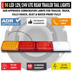 96 LED 12V - 24V Rear Trailer Tail Light Caravan Truck Boat Car Indicator