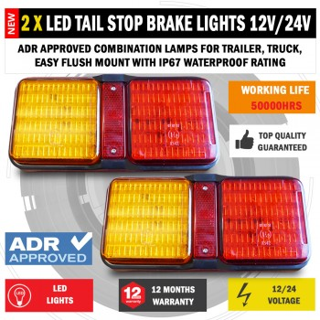 2 x 72 LED Tail Stop Brake Lights Waterproof Boat Trailer Caravan Bar 12V/24