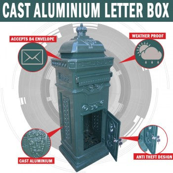 Aluminium Green Stand Letterbox Tower Vintage Mailbox Post Mail Box