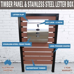 Timber Pillar Letterbox Hendon Stainless Steel Mailbox Wall Mount