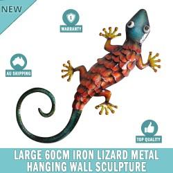 Large 60 cm Iron Lizard Metal Wall Hanging Sculpture Home Garden Decor