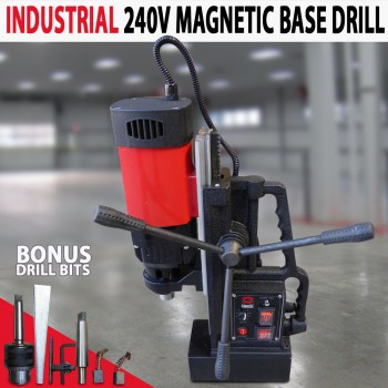 Industrial 240V 1380Watt MT2 Magnetic Base Drill Extra Long Travel Fwd & Rev