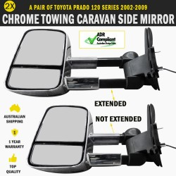 Electric HighVis Caravan Side Mirror Pair Foldable Toyota Prado 120 Series