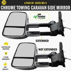 Electric Chrome Towing Caravan Side Mirror Pair Isuzu MU-X Indicators