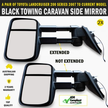 Black Electric HighVis Side Mirror Pair Toyota LandCruiser 200 Series Indicators