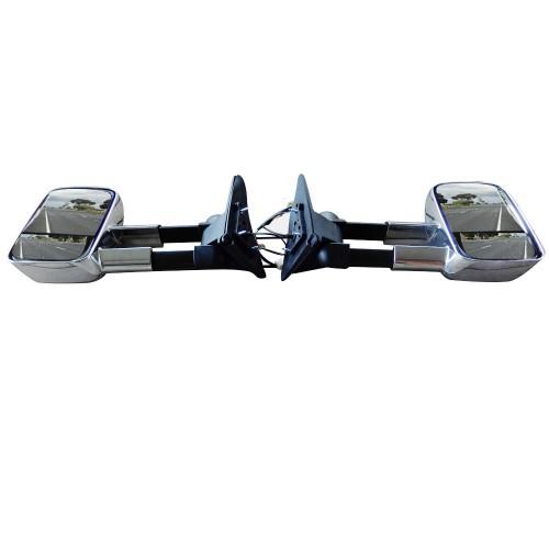 Electric Chrome Towing Caravan Side Mirrors Pair