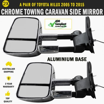 Electric Chrome Towing Caravan Side Mirrors Pair Fit Toyota Hilux 2005 To 2015