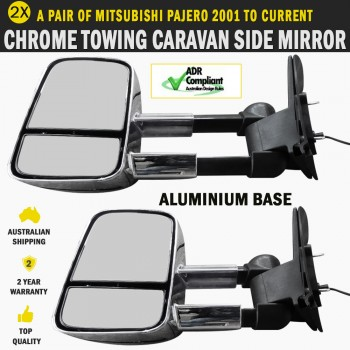 Electric Chrome Towing Caravan Side Mirrors 2x Mitsubishi Pajero 2001 to Current