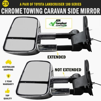 Electric Towing Caravan Side Mirror Pair Toyota Landcruiser 100 Series Indicator