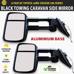 Black Electric Towing Caravan Side Mirrors Pair Toyota Landcruiser 200 Series