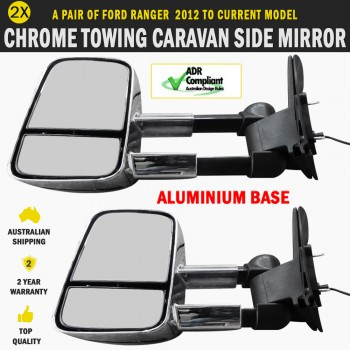 Electric Towing Caravan Side Mirrors 2 x Ford Ranger Series Indicators