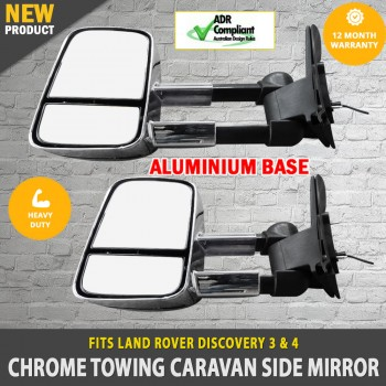 Electric Chrome Towing Caravan Side Mirrors 2x Land Rover Discovery 3 & 4